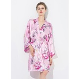 Bride Bridesmaid With Knee-Length Floral Robes (248174564)