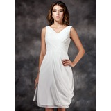 Sheath/Column V-neck Knee-Length Chiffon Bridesmaid Dress With Ruffle (007022516)