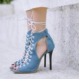 Женщины кожа Жан Высокий тонкий каблук Сандалии На каблуках Открытый мыс с Шнуровка обувь (087208912)