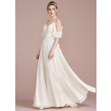 A-Line/Princess Floor-Length Chiffon Wedding Dress With Cascading Ruffles (002120296)