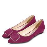 Vrouwen Suede Flat Heel Closed Toe Flats met Knoop (047193142)