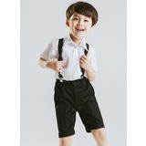 Boys 4 Pieces Cute Ring Bearer Suits /Page Boy Suits With Shirt Pants Bow Tie Suspender (287202875)