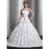 De baile Sem Alças Cauda longa Tule Renda Vestido de noiva com Bordado Curvado Plissada (002014829)