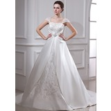 Ball-Gown Square Neckline Court Train Satin Organza Wedding Dress With Embroidered Ruffle Beading (002011665)