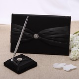 Simple Rhinestones/Sash Guestbook & Pen Set (101026915)