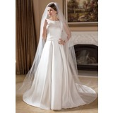 Vestidos princesa/ Formato A Decote redondo Cauda longa Cetim Vestido de noiva com Bordado (002011715)