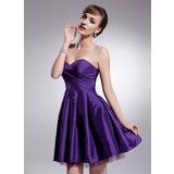 Vestidos princesa/ Formato A Coração Curto/Mini Tafetá Vestido de boas vindas com Pregueado (022021072)