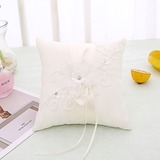 Elegant Rose Ring Pillow in Cloth With Bow/Flowers (103187555)