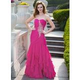 Trumpet/Mermaid Sweetheart Floor-Length Chiffon Prom Dress With Beading Cascading Ruffles (018024656)