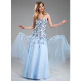 Vestidos princesa/ Formato A Coração Longos Tule Vestido de baile com Apliques de Renda Lantejoulas (018018822)