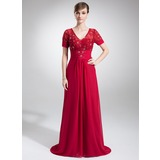Vestidos princesa/ Formato A Decote V Cauda de sereia De chiffon Renda Vestido para a mãe da noiva com Pregueado Bordado (008005974)