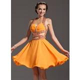 A-Line/Princess Halter Knee-Length Chiffon Homecoming Dress With Ruffle Beading (022007283)