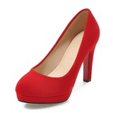 Women's Suede Leatherette Stiletto Heel Pumps Platform shoes (085191908)