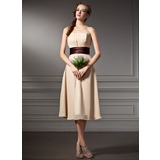 Empire Strapless Knee-Length Chiffon Bridesmaid Dress With Ruffle Sash (007000930)