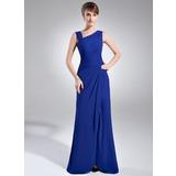 Tubo Decote V Longos Tecido de seda Vestido para a mãe da noiva com Pregueado Beading Frente aberta (008006887)