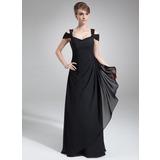Платье-чехол С Открытыми Плечами Длина до пола шифон Вечерние Платье с Ниспадающие оборки (017021117)