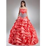Платье для Балла Волнистый Длина до пола Тафта Пышное платье с Рябь Цветы блестками (021015958)