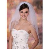 Zweischichtig Ellenbogen Braut Schleier mit Perlenbesetzter Saum (006003756)