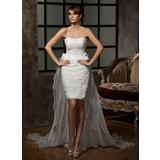 Tubo Coração Assimétrico Destacável Organza de Vestido de noiva com Pregueado fecho de correr (002011463)
