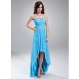 Vestidos princesa/ Formato A Coração Assimétrico De chiffon Vestido de boas vindas com Pregueado Bordado (022010410)