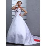 Платье для Балла С Открытыми Плечами Церковный шлейф Атлас Свадебные Платье с Вышито Бисер Бант(ы) (002011731)