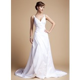 A-Line/Princess V-neck Court Train Satin Wedding Dress With Ruffle Beading Appliques Lace (002012057)