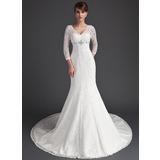 Раструб/Платье-русалка V-образный Церковный шлейф кружева Свадебные Платье с Бисер (002011525)