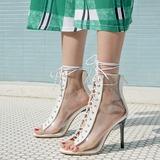 Kvinnor Konstläder PVC Stilettklack Sandaler Pumps Peep Toe med Bandage skor (087208914)