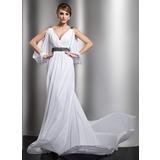 Трапеция/Принцесса V-образный Церковный шлейф шифон Свадебные Платье с Рябь Бисер (002012610)