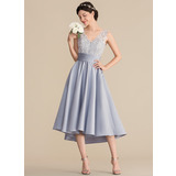 A-Line V-neck Asymmetrical Satin Lace Homecoming Dress With Ruffle (022204161)