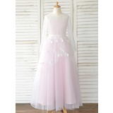A-Line Sweep Train Flower Girl Dress - Tulle/Lace Long Sleeves Scoop Neck (010183522)