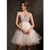 Empire Sweetheart Knee-Length Tulle Prom Dress With Beading Sequins (018113175)