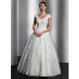 Vestidos princesa/ Formato A Decote V Longos Tule Vestido de noiva com Renda Lantejoulas (002014820)