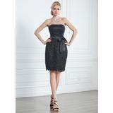 Платье-чехол Без лямок Длина до колен кружева Маленькое Чёрное платье (043005246)