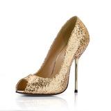 Vrouwen Sprankelende Glitter Stiletto Heel Peep Toe Sandalen met Lovertje (047022632)