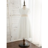 A-Line Tea-length Flower Girl Dress - Tulle Short Sleeves V-neck With Sash/Sequins (010172339)