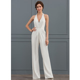 Sheath/Column Halter Floor-Length Satin Wedding Dress (002127276)