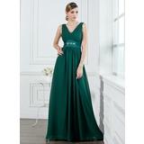 A-Line/Princess V-neck Floor-Length Chiffon Bridesmaid Dress With Ruffle Beading (007000914)