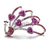 Pavão-Shaped Cristal/Liga Capacete da menina flor (042057907)