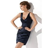 Sheath/Column V-neck Short/Mini Charmeuse Cocktail Dress With Ruffle (016008439)