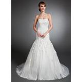 Trompete/Sereia Coração Cauda de sereia Tule Vestido de noiva com Apliques de Renda (002015135)