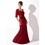 Trumpet/Mermaid Scoop Neck Floor-Length Charmeuse Lace Mother of the Bride Dress With Ruffle Beading (008005955)