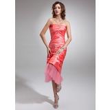 Платье-чехол Без лямок Длина ниже колен Тафта Платье Для Выпускного Вечера с Рябь (018020863)