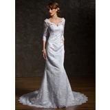 Trompete/Sereia Decote V Cauda longa Renda Vestido de noiva (002011518)