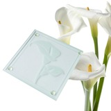 Calla Lilies Floral Frosted-Glass Coasters Wedding Gifts(set of 2pcs) (051178613)