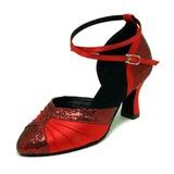 Женщины Атлас Мерцающая отделка На каблуках На каблуках Современный Бальные танцы Обувь для танцев (053008916)