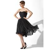 Vestidos princesa/ Formato A Coração Coquetel De chiffon Vestido leve preto com Pregueado (043004243)