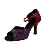 Mulheres Espumante Glitter Couro Brilhante Saltos Sandálias Latino Sapatos de dança (053013306)