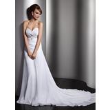 Vestidos princesa/ Formato A Coração Cauda longa De chiffon Vestido de noiva com Pregueado Bordado Lantejoulas (002011407)