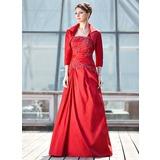 Vestidos princesa/ Formato A Um ombro Longos Tafetá Vestido para a mãe da noiva com Pregueado Renda Lantejoulas (008006472)